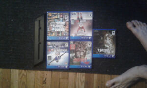 GTA V and 4 PS4 Games + PS4 vertical stand and controller