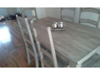 Dining table with six chairs, farm house style