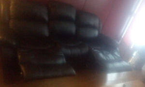 Genuine black leather couch (recliner)