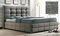 Upholstered square low profile bed