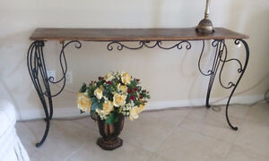 TABLE CONSOLE BOIS FER FORGE / CONSOLE TABLE WOOD WROUGHT IRON