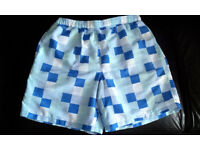 MEN SHORTS SQUARE PATTERNS - BLUE & WHITE WITH POCKETS ON BOTH SIDE - SIZE M