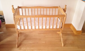 Wooden Cradle with Mattress / Berceau