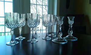 Crystal Glasses & Matching Candle Holders