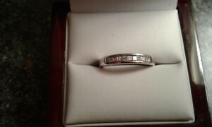 10 Princess cut diamond channel wedding band