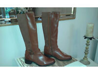 Tan (knee length) Synthetic Boots