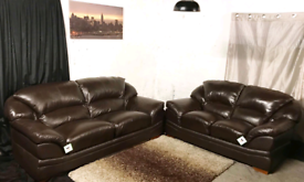 •• New ex display dfs dark brown real leather 3+2 seater sofas