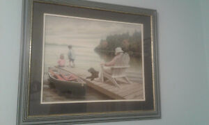 Matted Framed Picture - Dock Man and Children & Dog.