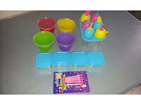 JELLY & ICE LOLLY CUPS WITH SMALL BOXES AND CANDLES USED