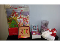 CHRISTMAS STUFFS INCLUDED PAPER BAGS, CARD. DECORATE SMALL TREE WITH LIGHT