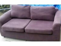 quality aubergine sofa with washable covers £75