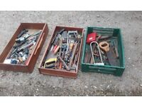There trays of old tools