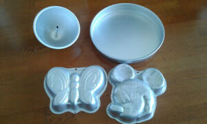 Wilton Baking cake pans Mickey mouse , barbie base , butterfly