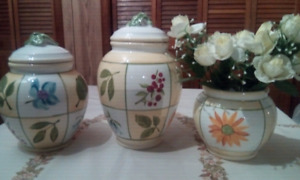 Ceramic canisters and vase