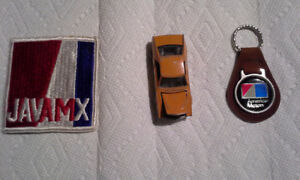 1970 AMX novelties, sew on patch, key holder, toy car
