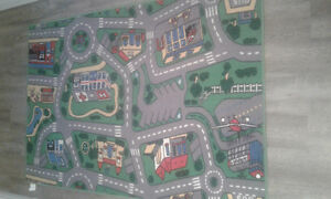 Road Mat Rug with 12 cars
