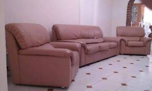 3 SEATER LEATHER LOUNGE AND 2 ARMCHAIRS Eastgardens Botany Bay Area Preview