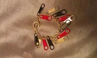 Red Black and Silver Zipper Bracelet