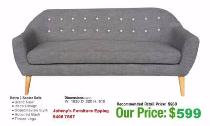Grey Fabric 3 Seater Sofa White Ons