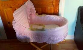 Pink Moses basket with extras