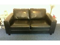 Black Faux Black Leather Sofa Bed. Like New Condition. Was £650 now only £240. *Free delivery*