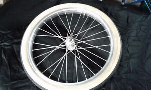 3 speed aluminum bike rims and white wall tires