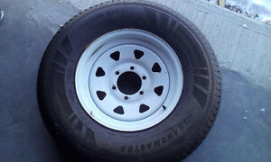 235/80 R16 WHITE STEEL 6 BOLT RIMS AND TIRES London Ontario image 1