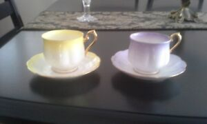 multiple antique china cups & saucers