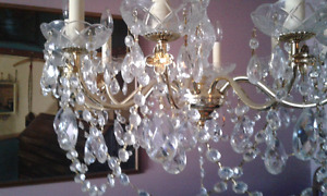 Real Brass and Crystal Chandelier