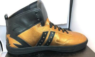 VERSACE MENS GOLD LEATHER HIGH TOP SNEAKERS SHOES, Size 8