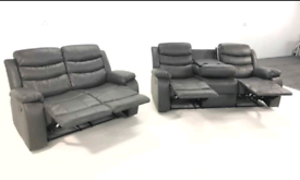 Grey Bonded Leather Recliner 3&2 Seater Sofa set New