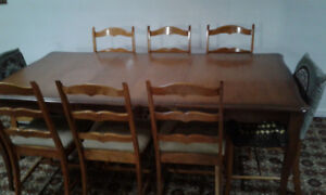 Solid Wood Table & 6 Chairs.