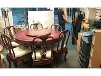 Rosewood table and six chairs