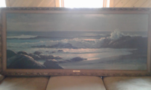 Large Vintage Robert Wood Golden Surf Print Original Frame - NEW