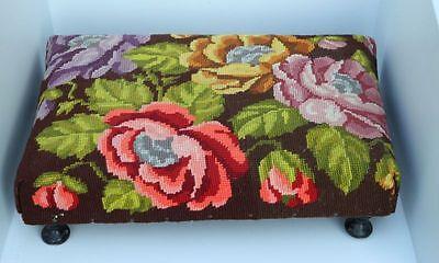 Hocker Schemel Sitzhocker 30er J. Gobeline Stickerei Blumen Handarbeit Fußbank