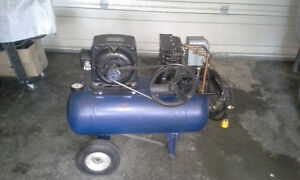 air compressor 25 gal.motor 1hp 110 v dual head weary quite