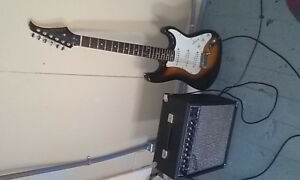 Silvertone guitar with amp