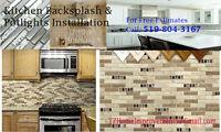 Kitchen Backsplash Installation & Recessed Potlights Installatio