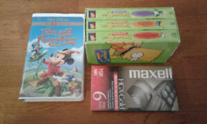 Disney VHS Mickey Fun And Fancy Simpsons 3 VHS + 1 Blank Tape