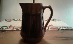 Brown glaze yellowware jug