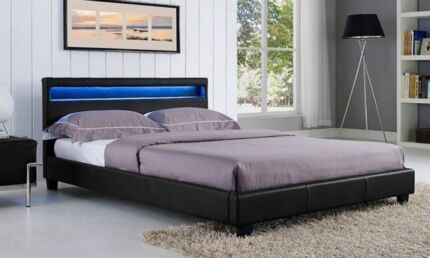 Brand NEW PU Leather LED Bed Frames - FREE METRO DELIVERY*