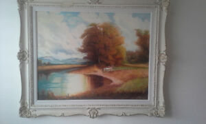 Big vintage painting signed by artist