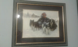 Matted Framed Picture - Boy 3 Dogs