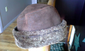 Ladies Brown Leather winter hat