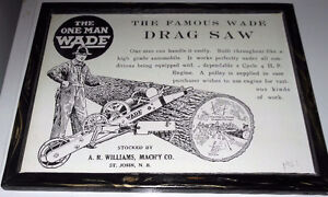 vintage ad  - The Wade Drag Saw - Saint John,NB, 1921