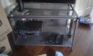Sturdy TV/Device Stand with 2 Glass and 1 Solid Shelf