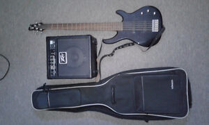 Fender squier 5 string bass with accessories.