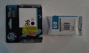 Cartouches d'encre neuves HP96 noir et HP97 couleur, moitié prix