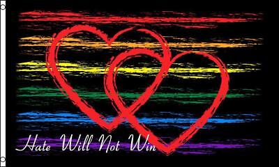 HATE WILL NOT WIN rainbow 3 X 5 FLAG FL750 banner wall hanging new decoration