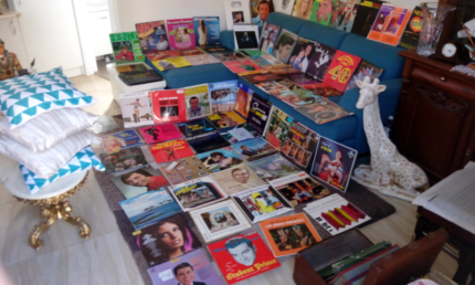 Vintage record collection and player $400